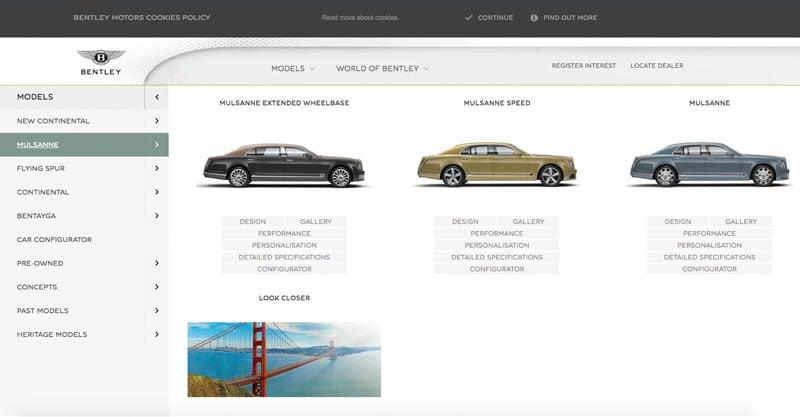 flyouts-navigatie-website-voorbeeld-bentley