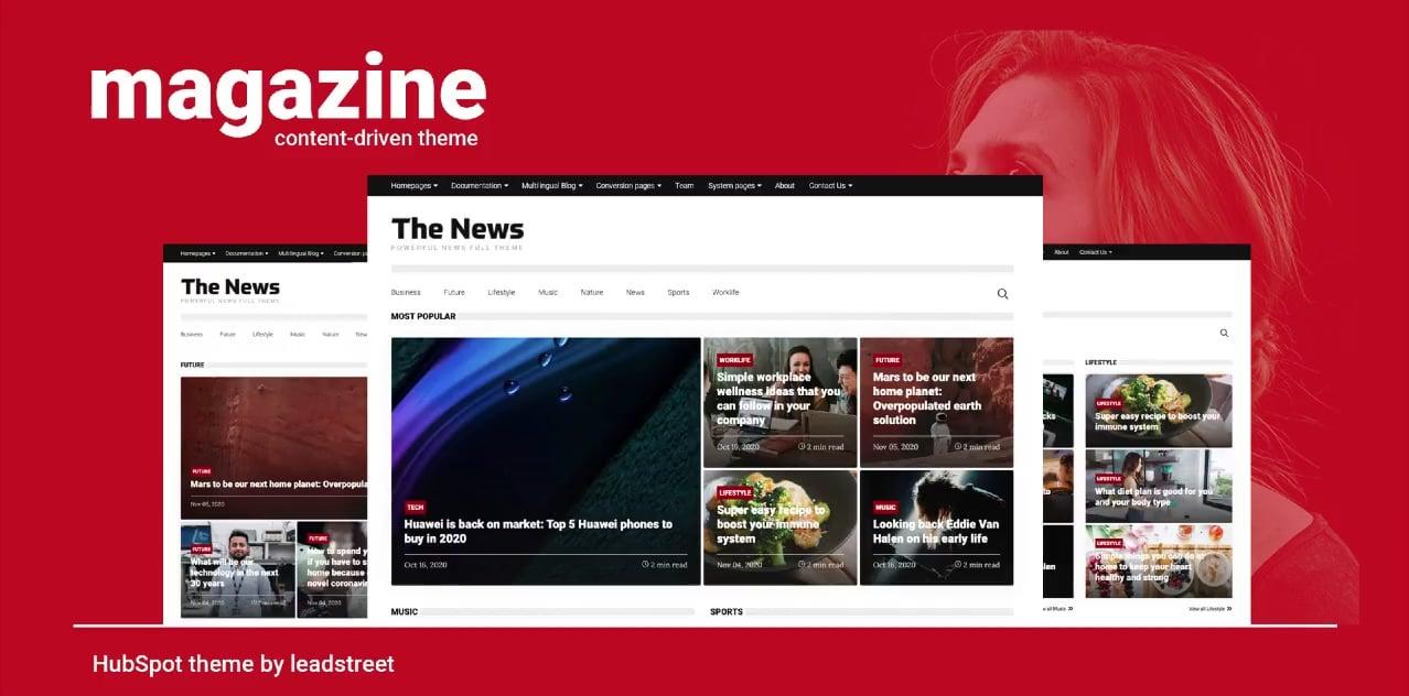 Magazine theme homepage example A